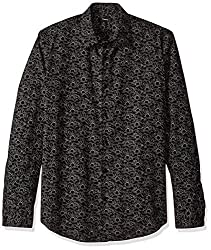 Theory Mens Long Sleeve Printed Dress Shirt, Black, XL