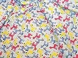 Blau & Mehrfarbig Cartoon Esel Print Kleid
