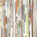 DansLemur 5007-1 - Papel pintado tradicional con imitación a tablones de madera, multicolor