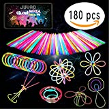 GLOW MEGA PACK - 180 Pezzi Braccialetti Luminosi Fluorescenti e Accessori per Festa | Neon Led Tubi Bastoncini Fluo Bracciale Fluorescente Fosforescenti al Buio Bambini