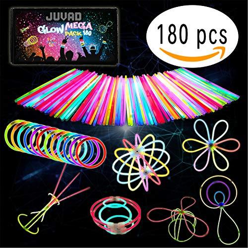 JUVAD Glow Mega Pack - 180 Knicklichter Armbänder Leuchtstäbe Set Party Box & Zubehör