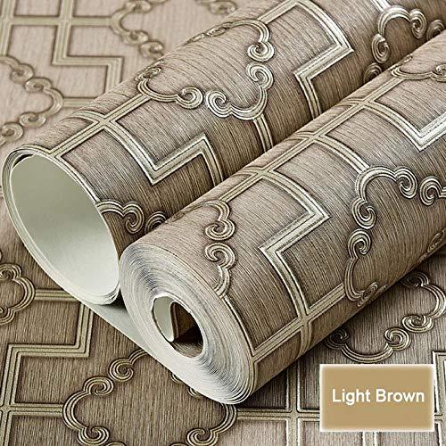 QJBZHI 3D Tief Geprägte Vliestapete Chinesischen Stil Arbeitszimmer Tee Wohnzimmer Tv Hintergrund Dekoration Tapete Volumen 10 Meter (Länge) X 0,53 Meter (Breite) -