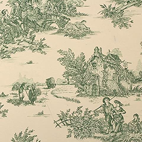 Green Toile De Jouy Natural Pond House Print Curtain Cushion