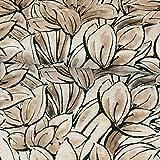 Stoffe Werning Strickjersey großes Blumenmeer Taupe Modestoffe Flower Frauenstoffe Strickstoff - Preis Gilt für 0,5 Meter