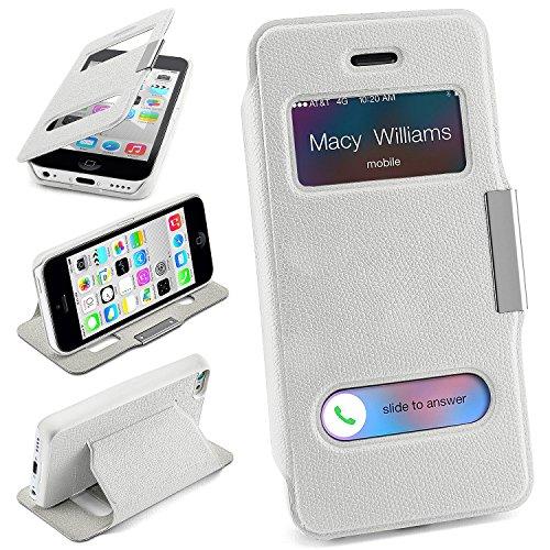 iPhone 5C Hülle Weiß mit Sicht-Fenster [OneFlow Window Cover] Schutzhülle Ultra-Slim Handyhülle für iPhone 5C Case Flip Handy-Tasche Stand-Funktion (Iphone 5c Flip Cover Mit Fenster)