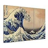 Bilderdepot24 Kunstdruck - Alte Meister - Katsushika Hokusai - Die große Welle vor Kanagawa - 90x60cm dreiteilig - Leinwandbilder - Bilder als Leinwanddruck - Bild auf Leinwand - Wandbild