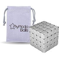 Cubes Magnétiques Anti-Stress myHodo, Gadget de Bureau Insolite Déstressant et Polyvalent, 64 Aimants Puissants 5x5x5mm…