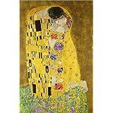 Cuadro sobre lienzo 20 x 30 cm: The Kiss (portrait) de Gustav Klimt - cuadro terminado, cuadro sobre bastidor, lámina terminada sobre lienzo auténtico, impresión en lienzo