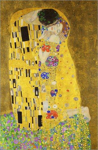 Posterlounge Leinwandbild 80 x 120 cm: Der Kuss (Hochformat) von Gustav Klimt - fertiges Wandbild,...