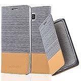 Cadorabo Hülle für Samsung Galaxy Alpha - Hülle in HELL GRAU BRAUN – Handyhülle mit Standfunktion und Kartenfach im Stoff Design - Case Cover Schutzhülle Etui Tasche Book