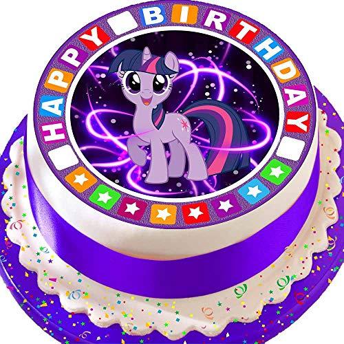 Cannellio Cakes vorgeschnittenen Essbarer Zuckerguss großen Kuchen Topper-19,1cm rund My Little Pony Twilight Sparkle mit Star Bordüre (Liste Der My Little Ponys)
