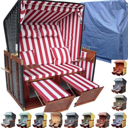 XINRO® - XY-03 - Balkon Strandkorb inkl. Luxus Strandkorb Schutzhülle & 4x Kissen - rot-gestreifter Stoff - braunes Holz, NordseeStrandkorb Form