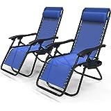 VOUNOT Lot de 2 Chaise Longue inclinable avec Support de Gobelet Amovible Chaise de Jardin Pliable en Textilène Chaise Longue