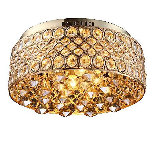 Plafoniera dorata vintage lampadario di cristallo in metallo rotondo design camera da letto soggiorno country home rustico soffitto illuminazione Ø45 * h16.5 cm e14