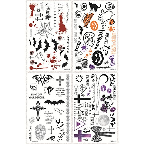 Temporäre Tattoos, Halloween, Tattoos, personalisiert, 4 Blätter, selbstklebend, für Tattoos, wasserfest, künstliche Tattoos, Gesicht, Körper-Aufkleber, für Halloween (Spooof) x 1