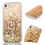 Flüssig Hülle für iPhone SE / 5S / iPhone 5, ZCRO Handyhülle Case Schutz Hülle Glitzer Flüssig Cover Transparent Silikon Rahmen Hüllen mit Handy Ring Halterung Ständer für iPhone SE 5S 5 (Gold)