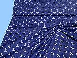 Baumwollstoff bedruckt blau mit Anker(Breite 1,60 Meter) -