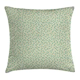 Floral Throw Pillow Cushion Cover, Little Cute Daisies with Leaves on Green Toned Backdrop Spring Yard, Decorative Square Accent Pillow Case, 18 X 18 Inches, Teal White Light Khaki