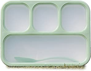Sunnee Lunch Box Bento Box - Fashion Rectangle Grid Lea-Proof Food Container For Adults & Kids,1000 Ml,(Green)