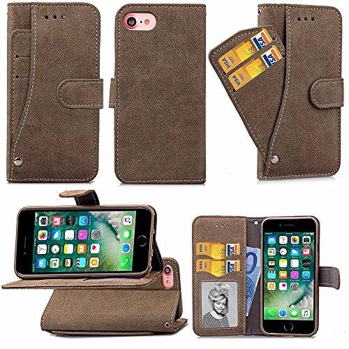 iPhone Case Cover Solid Color matt Oberflächenmuster Flip Ständer Cover Wallet Fall Shell Tasche für IPhone 7 ( Color : Brown , Size : IPhone 7 ) Brown