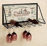 Portabottiglie da Parete in Ferro, Porta Bicchiere, Porta calici, Porta Vino da Appendere, Porta Vino