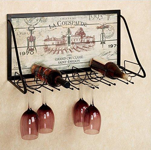 Eisernes Wandgestell, Glashalter, Stielhalter, hängender Weinhalter, Weinhalter
