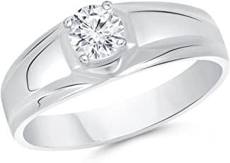 V. K. Jewels Solitaire Rhodium Plated Alloy American Diamond Ring for Men
