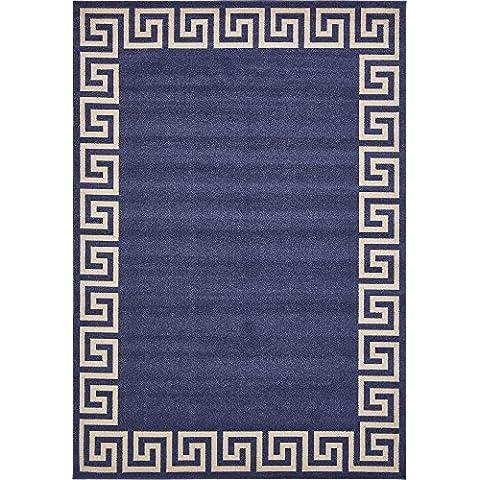 Moderno Geometrico Atene contemporaneo Tappeto, Polipropilene, Navy Blue, 8 x 11
