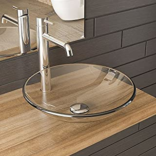 Clear Glass Wash Basin/Bathroom Furniture Made of Glass/Design Wash Bowl Diameter 460 mm/Guest Toilet/Alpenberger