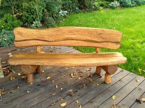 Gartenbank aus Massivholz | Farbe Eiche - Parkbank aus Akazien- und Tannenholz | Perfekt als Geschenk