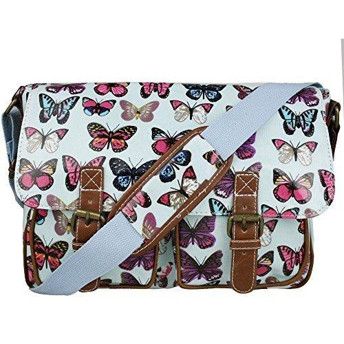Miss LuLu Wachstuch Tasche Umhängetasche Schultasche mit vielen Drucken in vielen Farben (F-NY) B-BE