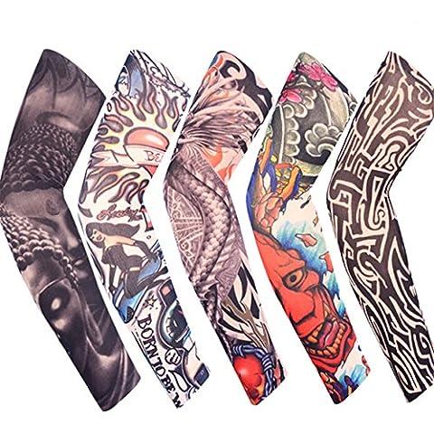 Lalang Lot 5 Pcs Temporaire Faux Glissement tatouage manches bras Kit Collection