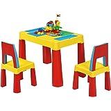 Costway Table de Blocs de Construction 7 en 1, Table d'Activité avec 1 Table et 2 Chaises, Jouet Educatif pour Enfant Plus de