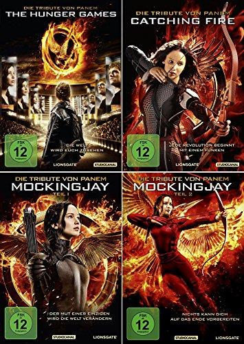 Die Tribute von Panem 1 + 2 + 3 | Hunger Games | Catching Fire | Mockingjay 1 + 2 | Inklusive Spotttölpel Schlüsselanhänger [Al
