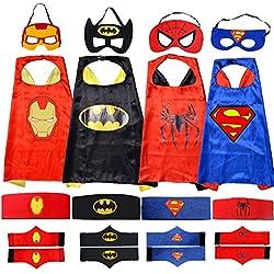 Apriller Costume superhero con maschera, mantello, cintura e polsino-4 Set.