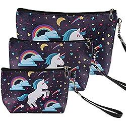 Naler Bolso de maquillaje con diseño de unicornio (3 unidades), para mujer y niña