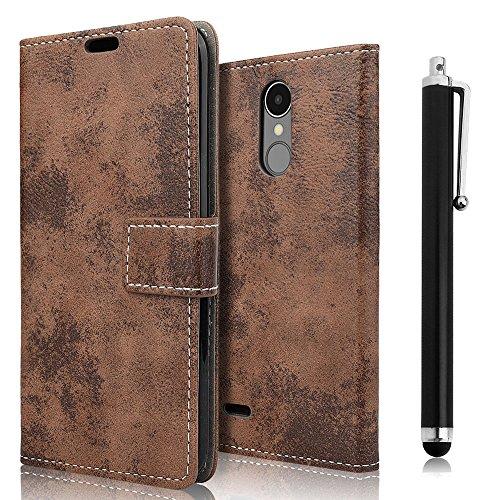LG K8 2017 Hülle, zStarLn Hülle für LG K8 2017 Hülle PU Leder Tasche Handytasche Zubehör Schutzhülle Etui + Stylus pen und 3 Films Schutzfolie (retro-braun)