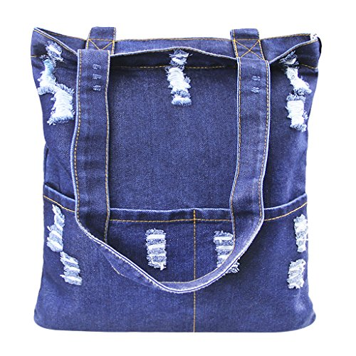 Damen Jeans Canvas Leinwand Umhängetasche Messenger Bag Handtasche Schultertasche Tasche Löcher Muster Hellblau & Dunkelblau (Jeans-handtasche)