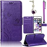 Funda de PU para Samsung Galaxy S4 Mini I9190 Cuero Resistente Ultra Slim PU Cuero Folding Stand Flip Funda Caso Leather Case Wallet Protector Card Holders, Sunroyal Cubierta de la Caja Funda Protectora Soporte Billetera Deep Purple Carcasa con Stand Función y Imán Incorporado +1 X Stylus Pen +1X Enchufe del Polvo