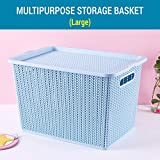 Tied Ribbons Plastic Basket/bin with lid for Kitchen Office Living Room Utility (33 cm X 20 cm X 22 cm,Plastic)