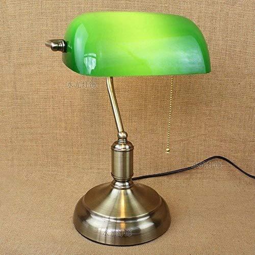 XFZ Antike Bronze Bank Lampe Metall mit grünem Glasschirm dekoriert Büro Restaurant Bar Schreibtisch Licht industrielle Klassische Tischlampe mit Kabelöffnung E27 -