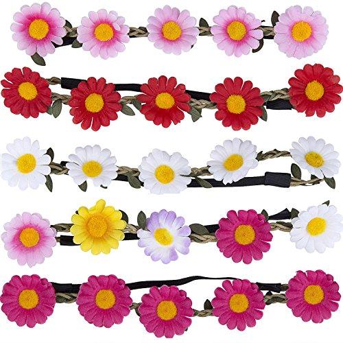 Stirnband Blumen, ZWOOS 5 Stück Stirnbänder Krone Haarband Kopfband Blume Haarbänder mit Elastischem Band für Hochzeit und Party (Damen Hochzeit Bands Pink)