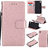 For Sony Xperia M4/M4 Aqua Case [Rose Gold],Cozy Hut [Wallet Case] Magnetic Flip Book Style Cover Case ,High Quality Classic New design Sunflower Pattern Design Premium PU Leather Folding Wallet Case With [Lanyard Strap] and [Credit Card Slots] Stand Function Folio Protective Holder Perfect Fit For Sony Xperia M4/M4 Aqua 5,0 inch - Rose gold