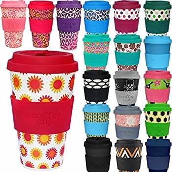 LS Design Öko eCoffee Cup 400ml Coffee to Go Becher Silikonring Bamboo Bambus Happy Sonne Gelb Rot 14,5x9cm