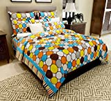 Home Candy 144 TC Multi Circles Cotton Double Bed Sheet with 2 Pillow Covers