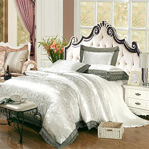Abreeze Satin Stickerei Bettbezug Set Beige Bett-Set, Luxuriöses Bettwäsche-Set Twin Größe 4Stück Queen Silber -