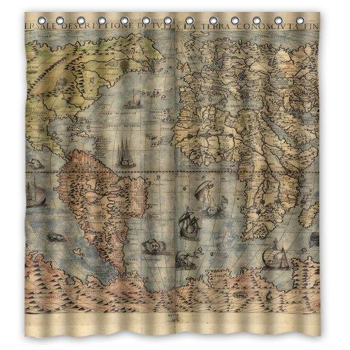CHATAE Nautisches Karten Dusche Retro Vorhang Dusche 100% Wasserdicht Polyester Stoff 167,6x 182,9cm Zoll Standard