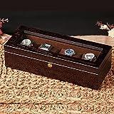 4 Boîte de rangement de montre Boîte de montre en bois léger Organiseur avec écran en verre Top by Case Elegance , Coffee