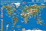 Carte du monde de la petite enfance, carte du monde des animaux finis, carte du monde scolaire/crèche, affiche éducative - Tableau mural/affiche - 60 cm x 40 cm