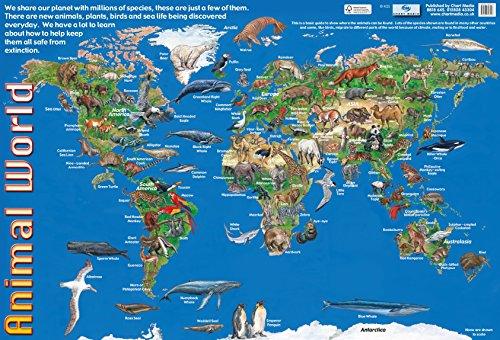 """Poster mit englischsprachiger Aufschrift:\""""Early Years Animal Worldmap\"""" für Schule/Kindergarten, 60 x 40 cm"""